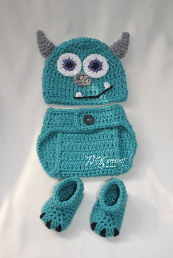 Crochet Monster Hat Diaper Cover And Booties Set Pattern 0 3 3 6