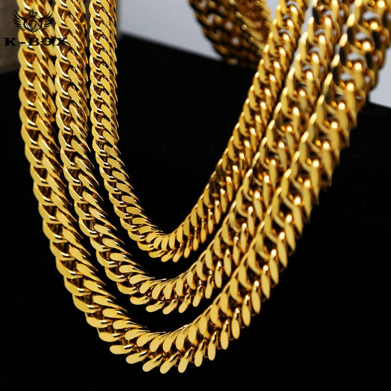 Nelly style mens stainless steel gold cuban link chain necklace 9 nelly style mens stainless steel gold cuban link chain necklace 9 14mm wide 24 mozeypictures Choice Image