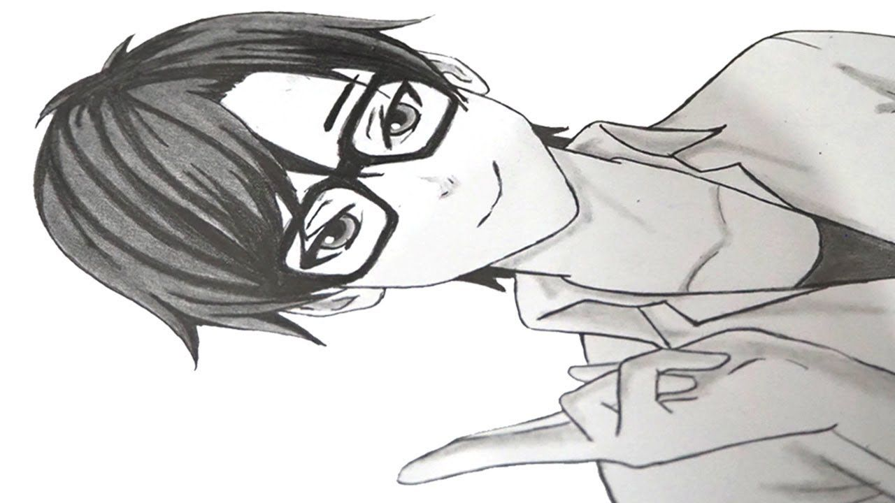 How to drawing anime boy with glasses for beginners www