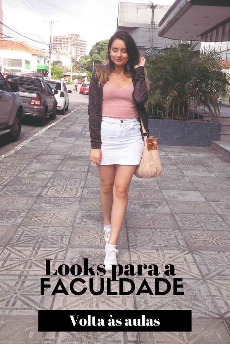 Moda - Volta às aulas - ideias de looks para a faculdade - saia branca - tênis branco - saia jeans - looks casuais