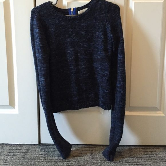 Navy blue sweater with unique zipper on back Navy blue sweater ...