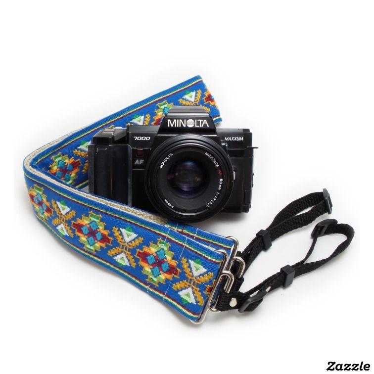 Blue Southwestern Handmade Camera Strap w/ Webbing,made by Feedback Straps