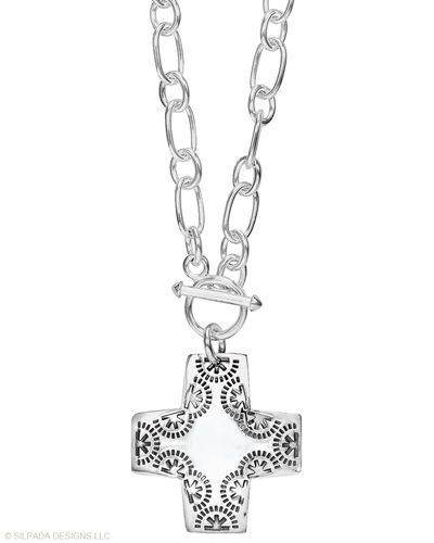 """Silpada Virtuosity Sterling Silver Cross Toggle 17/"""" Long Necklace N0557"""