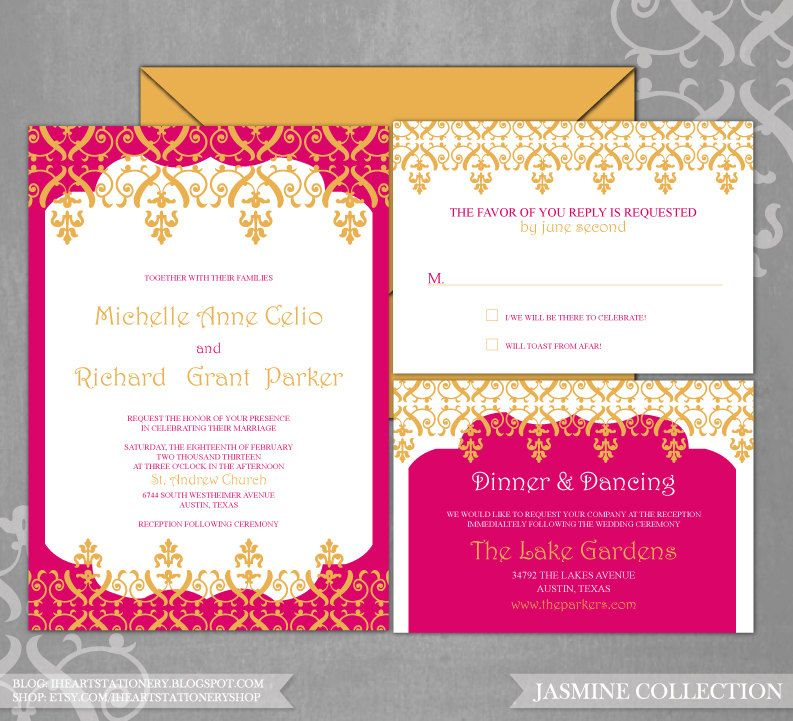 Printable Wedding Invitation And Rsvp Moroccan Scrolls