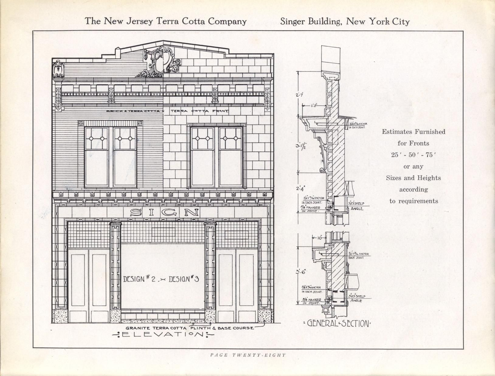 Store fronts in architectural terra cotta new jersey for Architectural plan storage