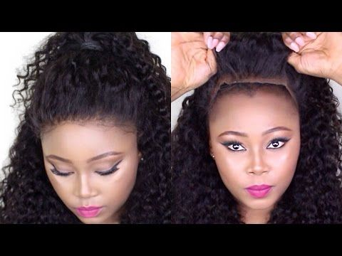 How To Make A Curly Hair Frontal Wig Tutorial Start To Finish No Glue No Sewn No Hair Out Lace Frontal Wig Frontal Wigs Curly Hair Styles