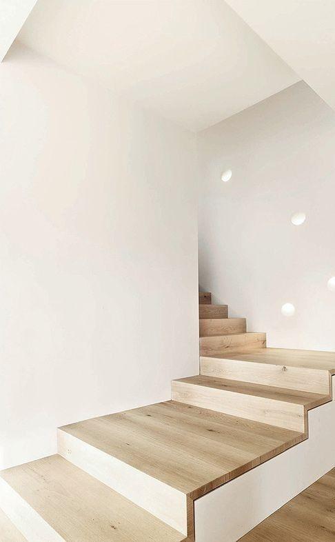 interiors, stairwell, natural wood, white walls, minimal