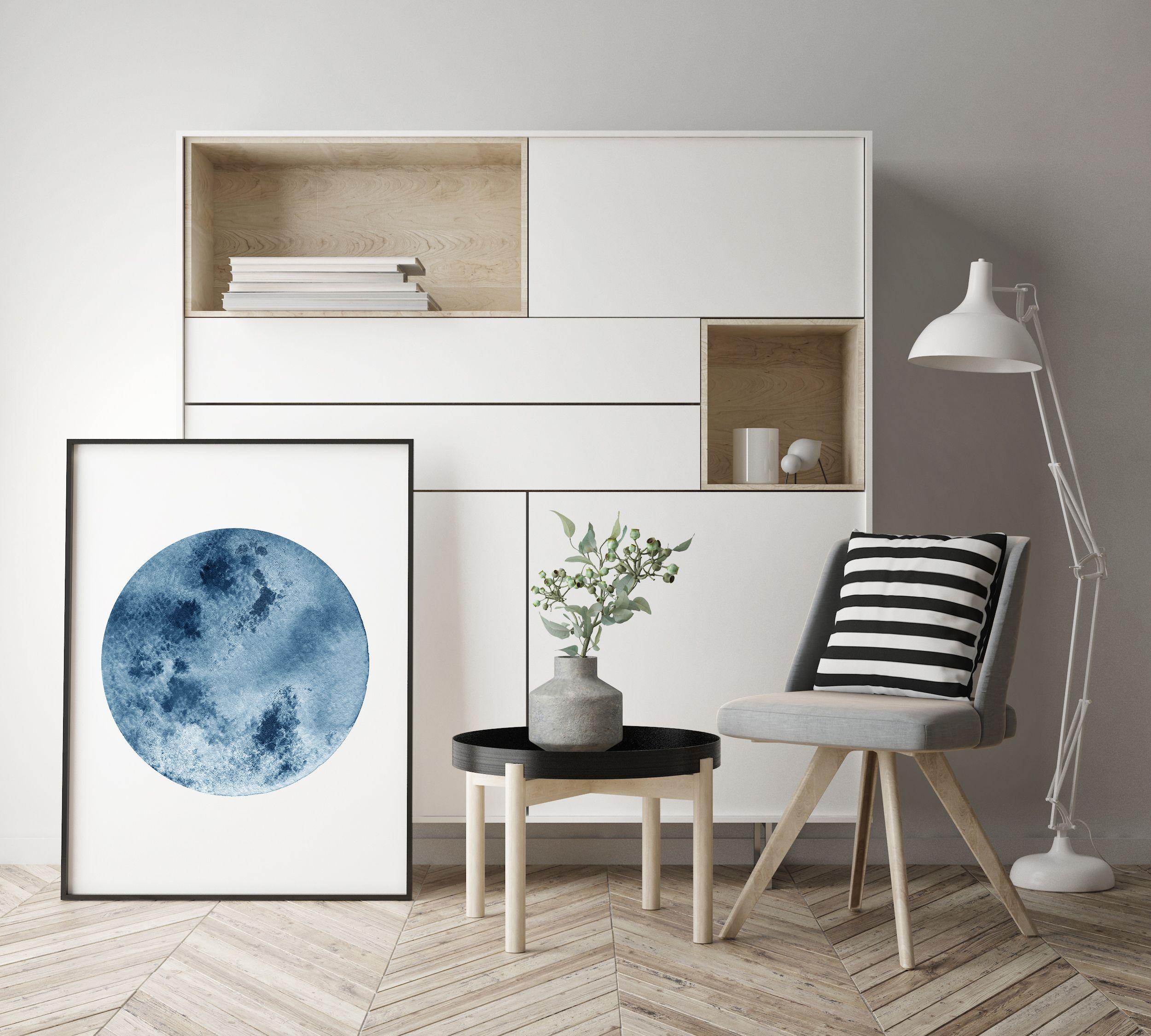 Watercolor moon print blue moon art full moon print moon art