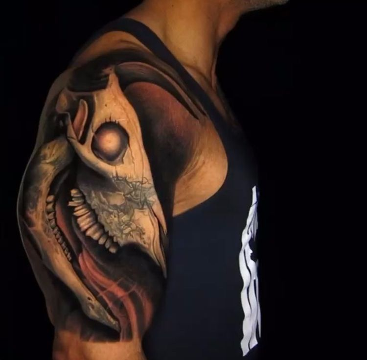 News check out the rocks finished bull skull tattoo