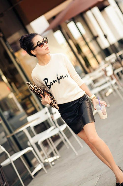 Wendy Nguyen - simple & chic, black leather mini, outfit.