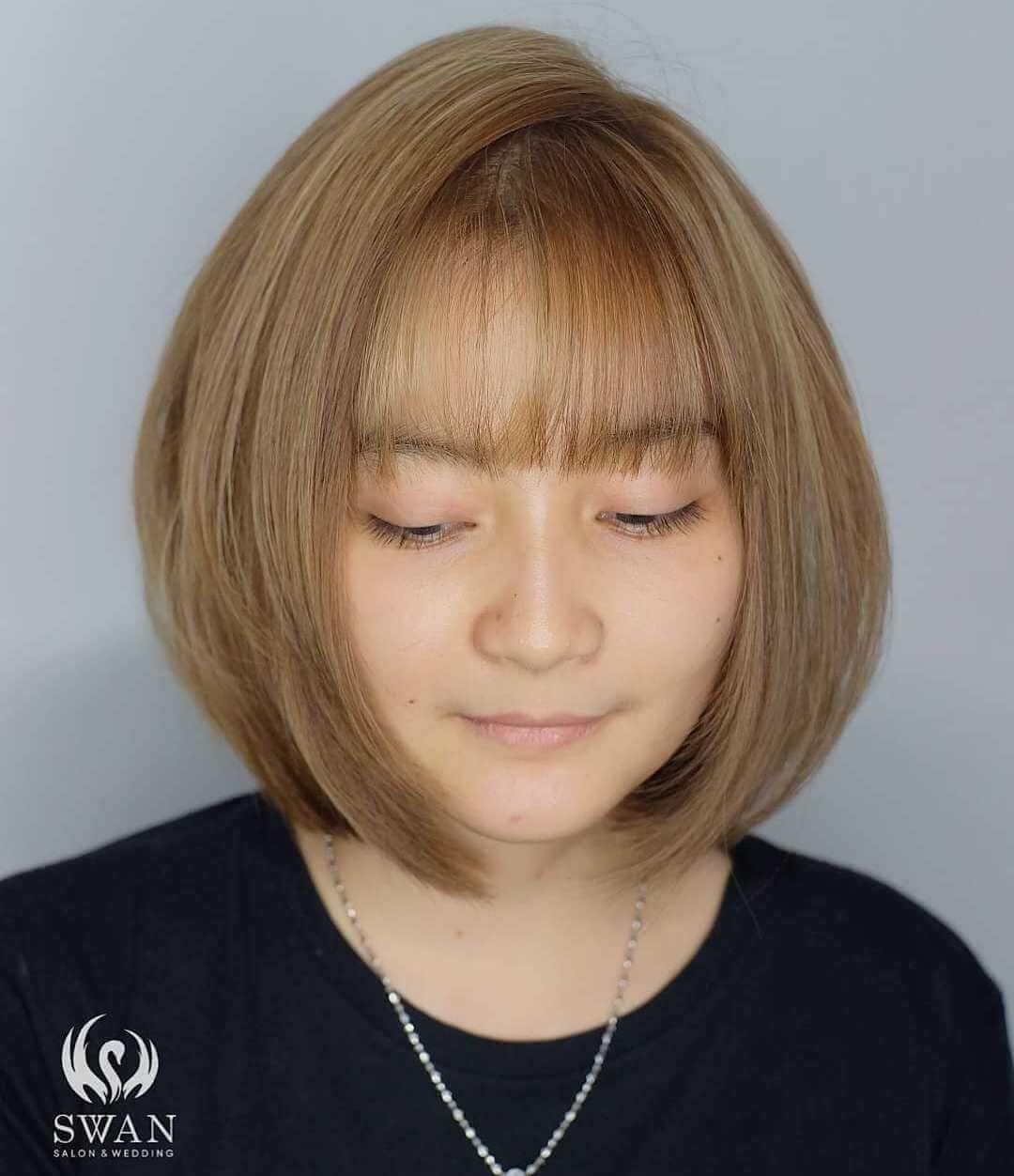 Korean Bangs Hairstyle For Round Face Hairstyles For Round Faces Classy Hairstyles Hairstyles With Bangs