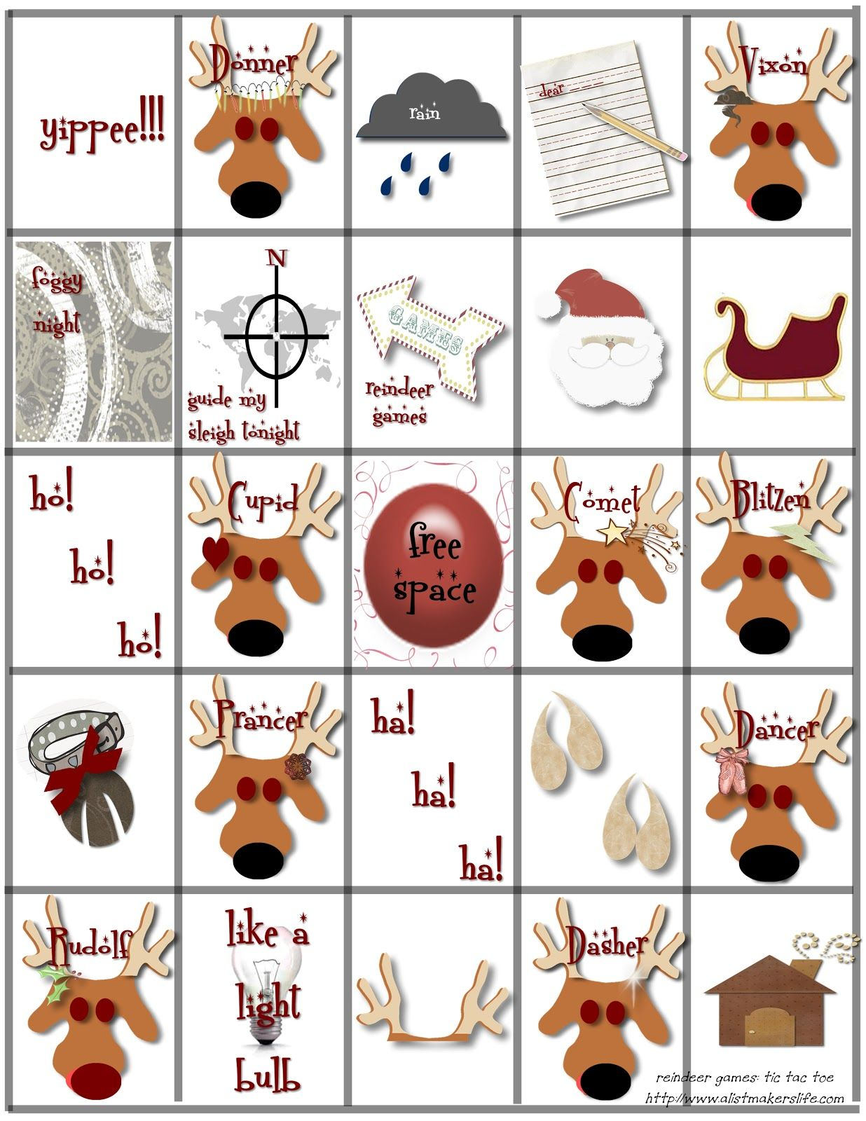 Abc And 123 Classroom Party Rudolf The Red Nose Reindeer Bingo Free Printable