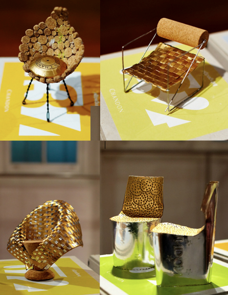 miniature chairs designed using  corks, wire cages and foils from champagne and wine bottles