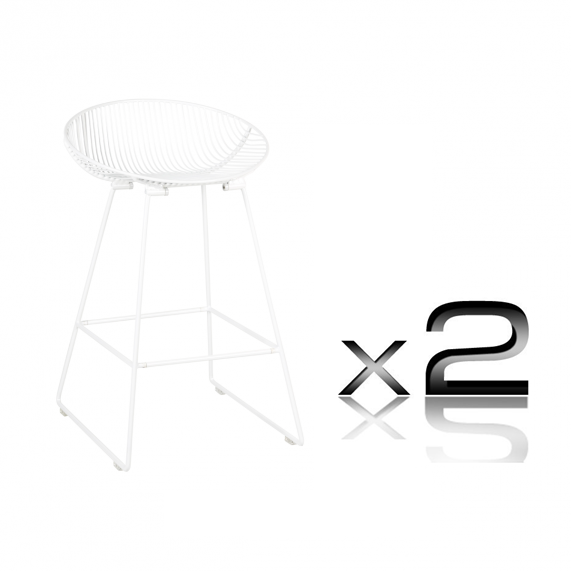 Pop Steel Frame Powdercoated Kitchen Stool 65cm In Gloss White Set Of 2