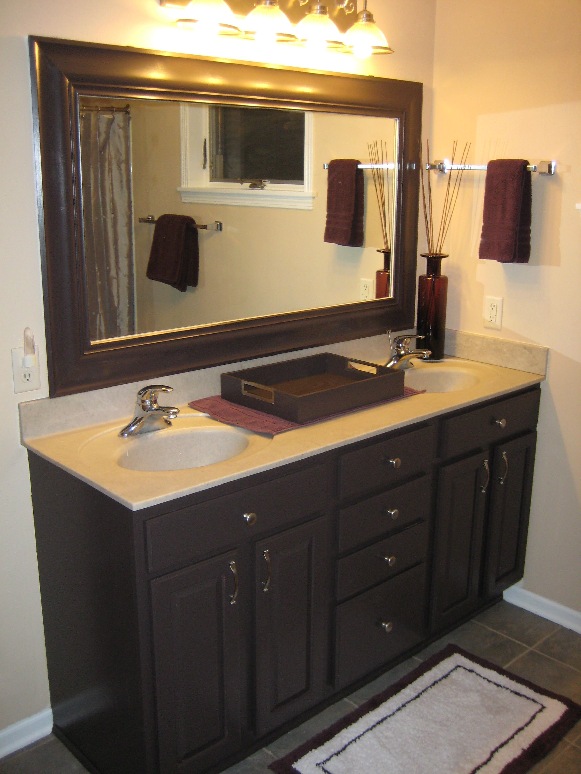 My newly remodeled master bath it was all oak i used - Painting bathroom cabinets black ...