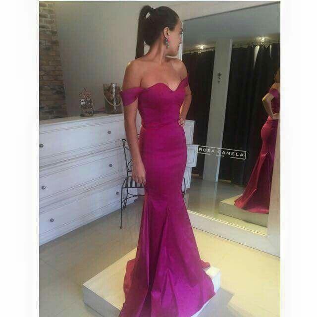 Vestido De Noche Color Rosa Fiusha En 2019 Vestido De