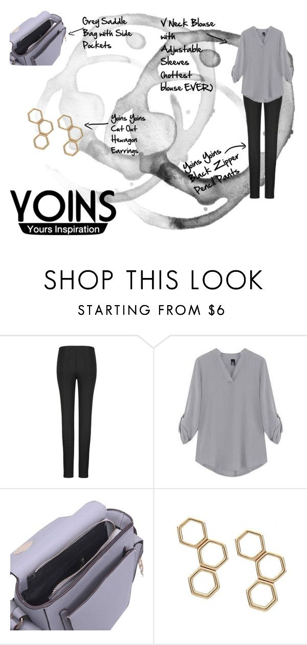 """""""YOINS: Yours Inspiration"""" by ash-nz ❤ liked on Polyvore featuring black, grey, yoins and goldhexagonearings"""