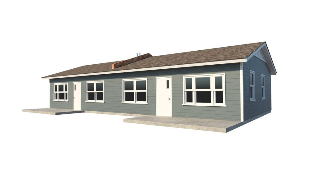 One Story Duplex House Plans Diy 1 Bedroom Tiny Home Building Plan Duplex House Plans Tiny House Building Plans House House Plans Farmhouse Duplex House Plans