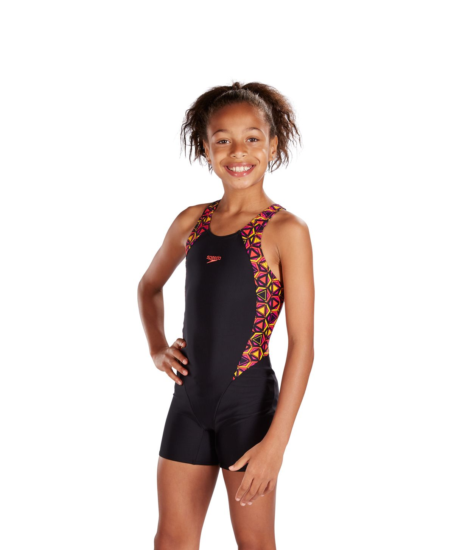 Speedo Girls Pattern Pop Endurance10 Legsuit Black 8