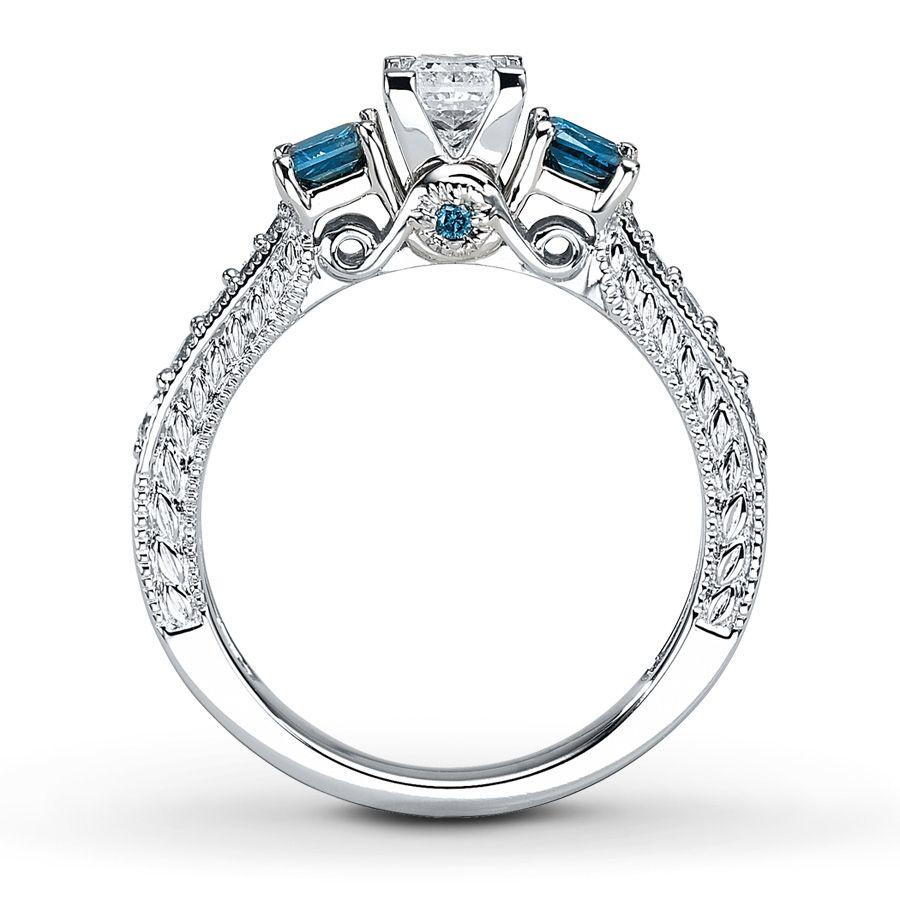 Blue Diamond Ring 1 carat tw Princess cut 14K White Gold