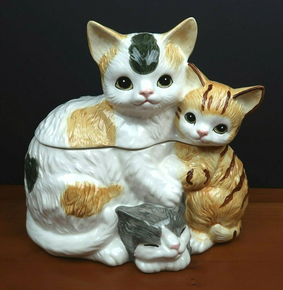 Cat Cookie Jar W Box Hearth And Home Designs 1990 Cats Kittens Canister Vtg Ebay In 2020 Cat Cookie Jar Cats And Kittens Cat Cookies
