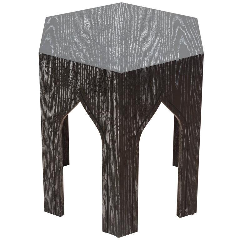 Cerused Ebonized Oak Tabouret Table By Lawson Fenning Large