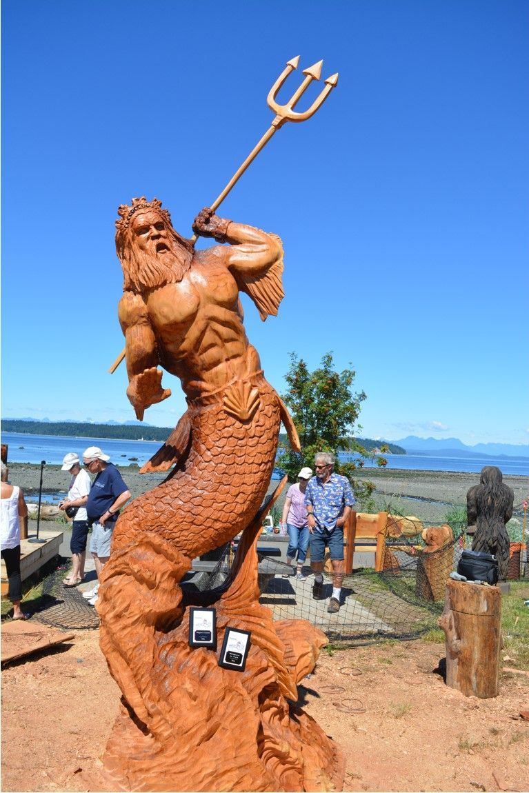 Poseidon The Greek God Chainsaw Carving Wood Sculpture Chainsaw