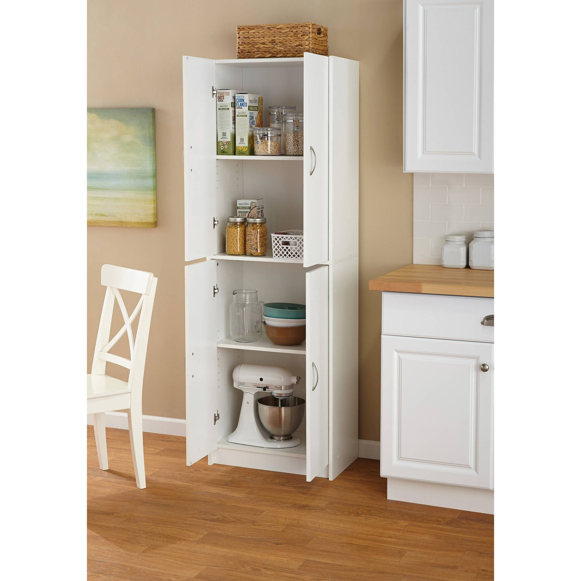 Mainstays 4 Shelf Multipurpose Storage Cabinet White Walmart Com In 2020 White Storage Cabinets Kitchen Cabinet Storage White Kitchen Storage Cabinet