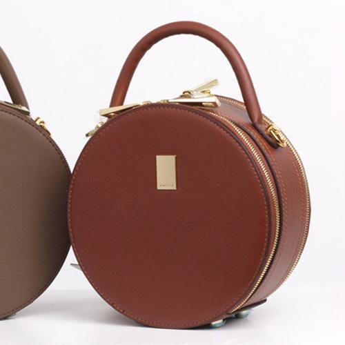 adeaf25a1b4c Leather Circle Bag Caramel Circle Purse Crossbody Handbag Clutch Bags
