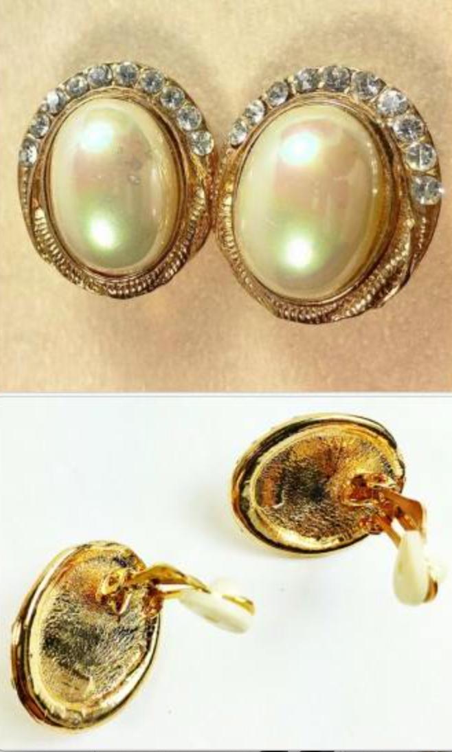 GOLDTONE 1981 Oval EARRINGS w.faux PEARL /& Rhinestone IVORY /& Gold CLIP 229