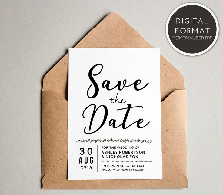 Simple Save The Date Template Download Wedding Announcement Etsy Save The Date Cards Rustic Wedding Save The Dates Save The Date Templates