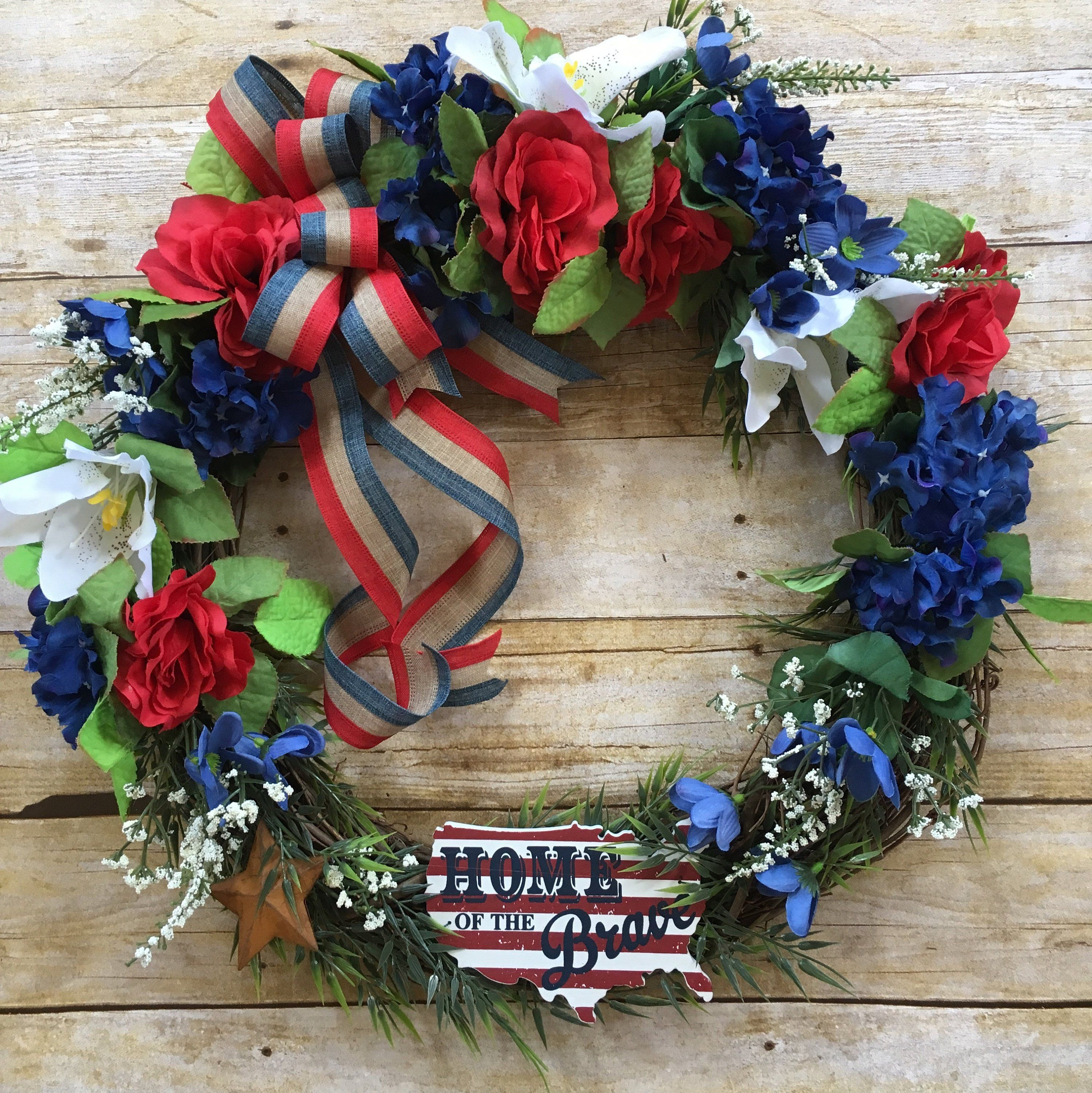Photo of Patriotic Wreath, 4th of July Wreath, Grapevine Wreath, Military Wreath, USA Sign, Housewarming Gift, Gift for Him, Year Round Wreath