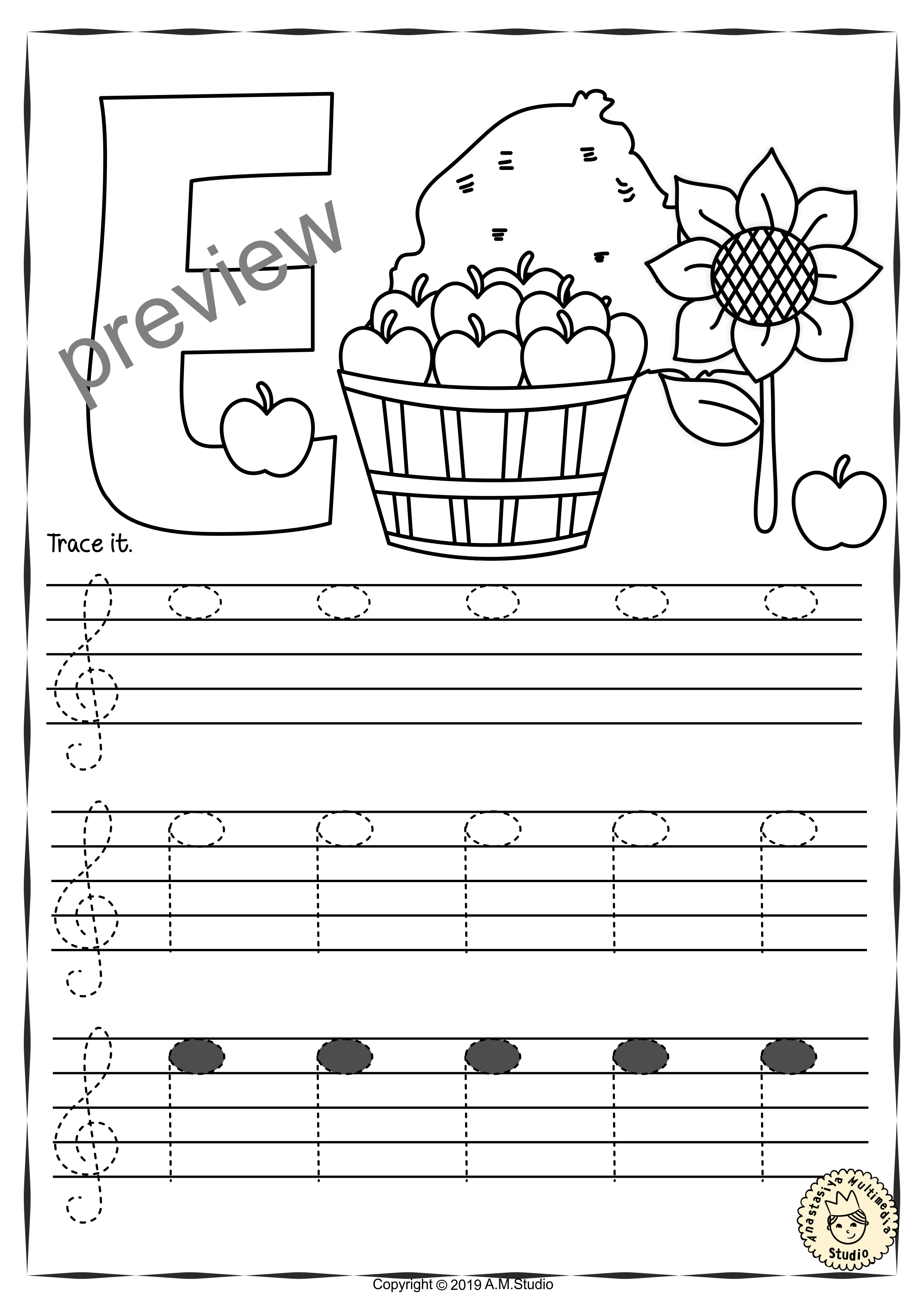 Treble Clef Tracing Music Notes Worksheets For Fall