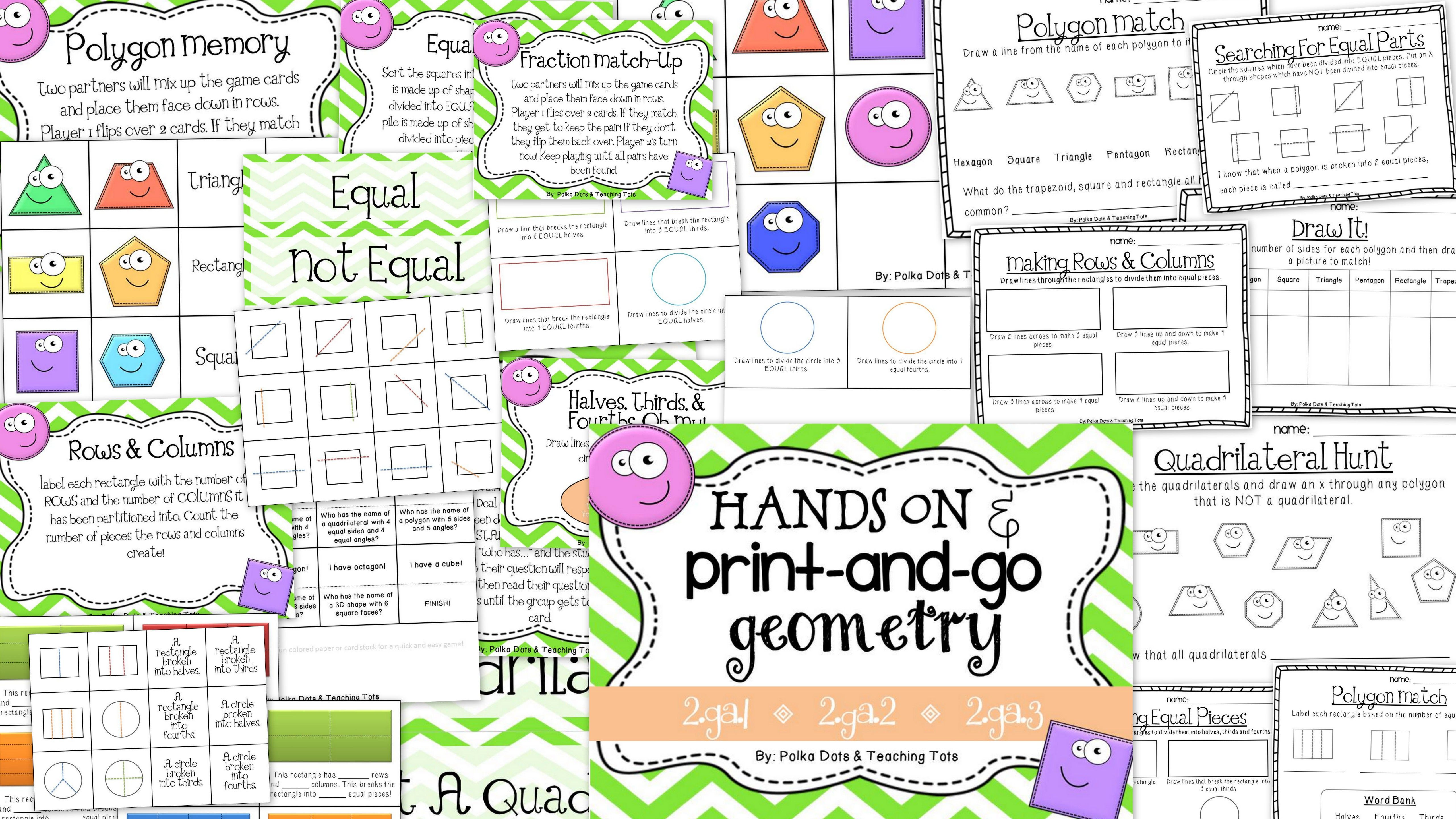 2nd Grade Geometry Hands On And Print And Go
