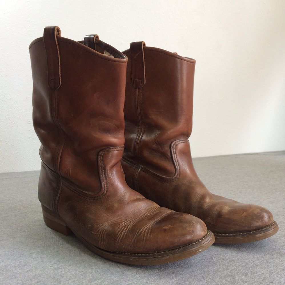 fd86774b50f Vintage RED WING Boots 80s Brown Leather Pecos USA Cowboy Pull On ...