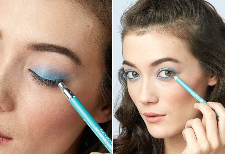Pin for Later: 3 Beauty Tutorials For Any Bachelorette Party — No Matter Where You Are Headed Step 1: Go bold with blue eyeliner