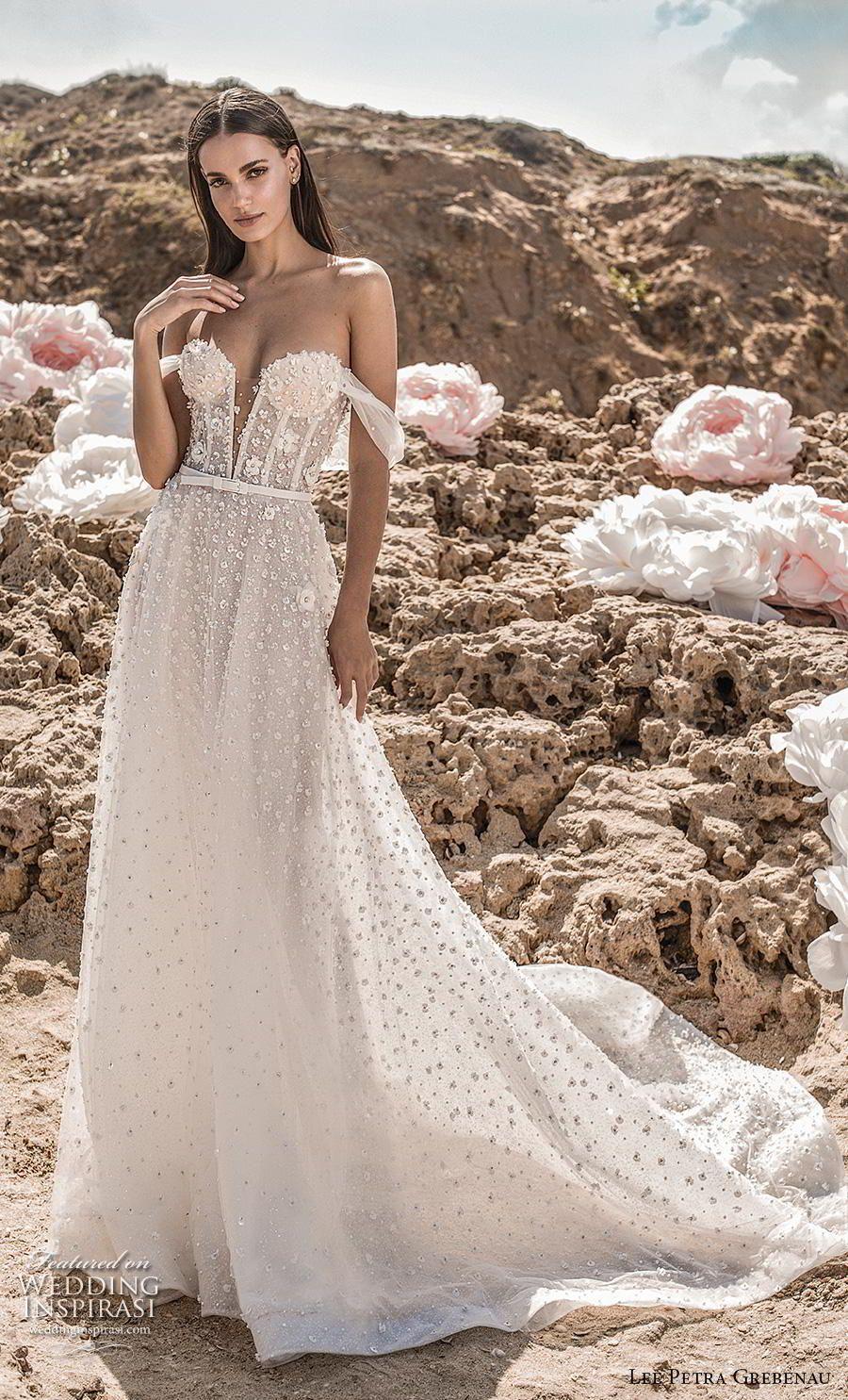 dda5a422dcaf Weddinginspirasi.com featuring - lee petra grebenau fall 2019 bridal off  the shoulder deep plunging sweetheart neckline full embellishment romantic  a line ...