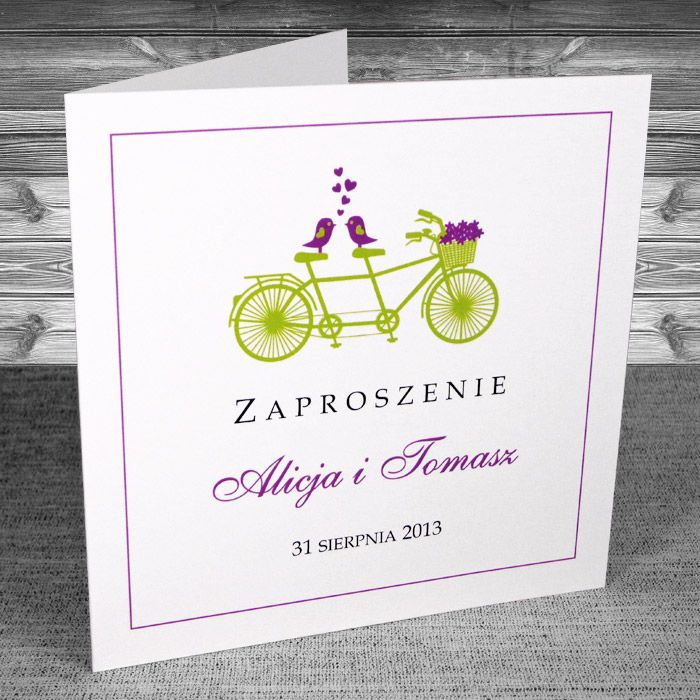 Zaproszenia Z Rowerem Zaproszenia Rower 16 Kolorystyka Fiolet I
