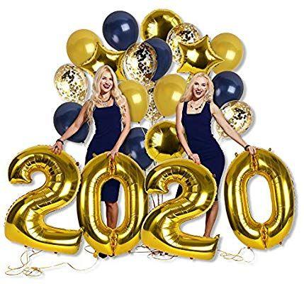 Amazon.com: Navy Blue Gold 2020 Confetti Balloons Calendar ...