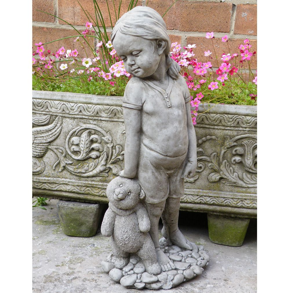Superb The Quirky Ornamental Girl With Teddy Garden Statue Is Perfect For Creating  A Charming Focal Display
