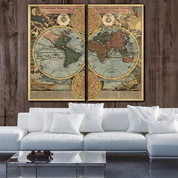 1700s vintage world map canvas wall art wall maps office walls 1700s vintage world map canvas wall art wall maps office walls and canvases gumiabroncs Image collections
