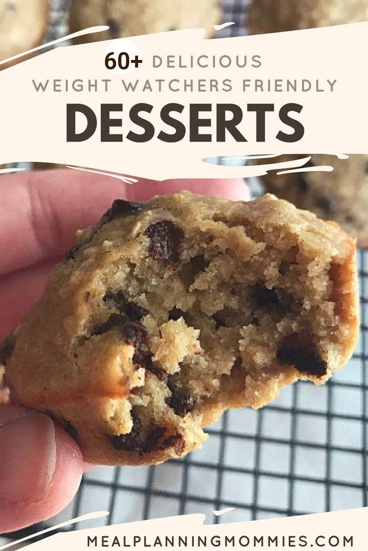 Over 60 delicious Weight Watchers Friendly desserts for any craving - Cookies, muffins, cheesecake, fruit, pie, meringues, etc. All of the desserts are between 1-6 WW SP per serving.