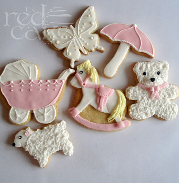 Baby Girl Shower Decorated Cookies Butterfly Teddy Bear Rocking