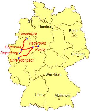 Karte Von Nrw.Karte Pilgerweg Nrw Jakobsweg Jakobsweg Stettin Und Mainz