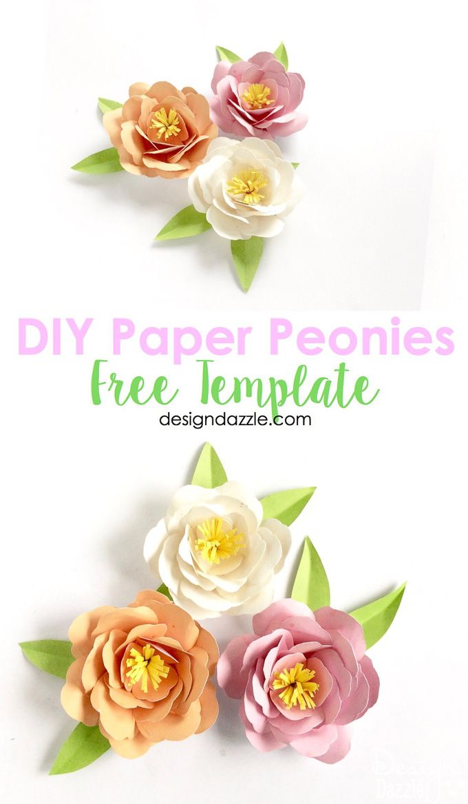 Diy Paper Peonies Free Template Paper Crafts Pinterest Diy