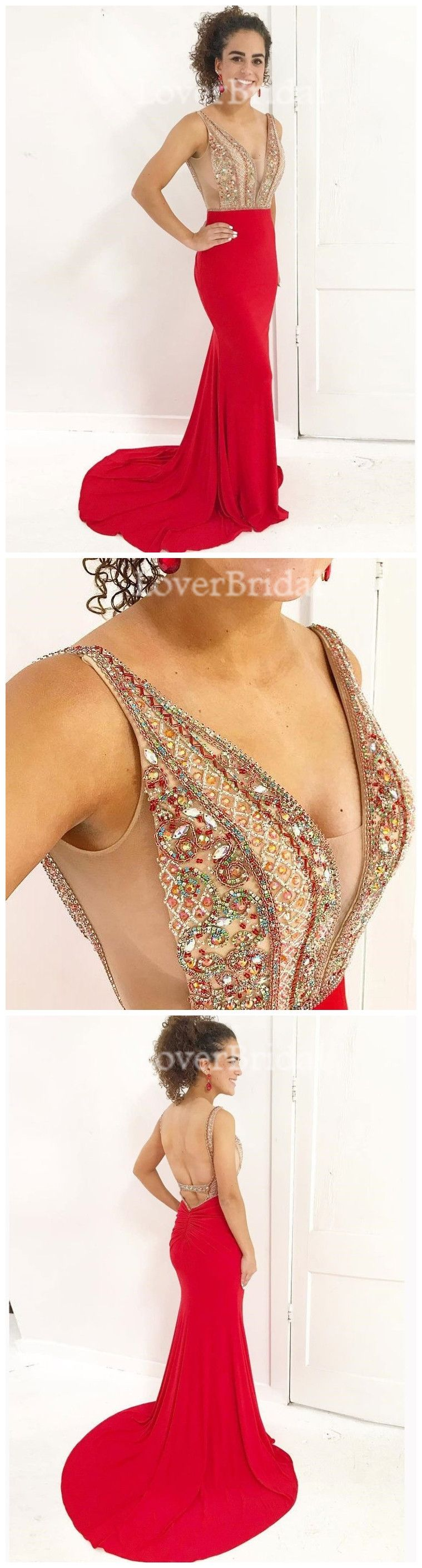 Red sexy see through backless beaded mermaid long custom evening
