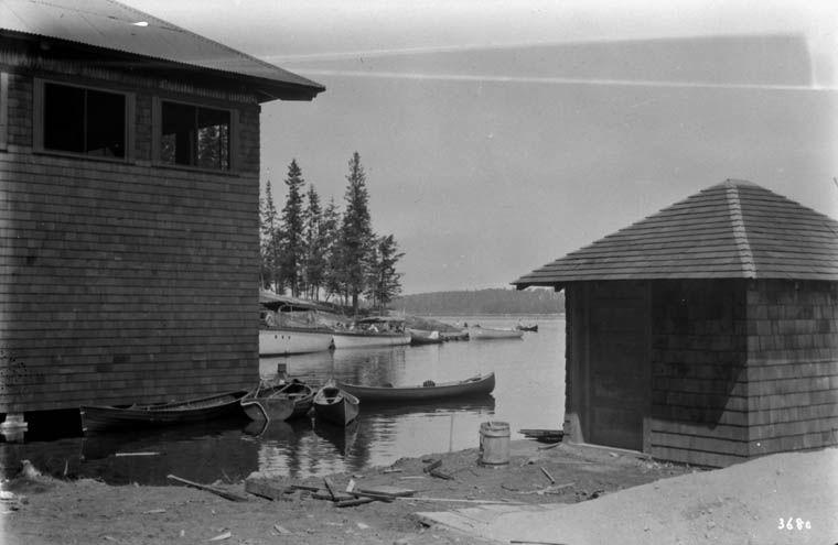 Boat house and boats at minaki inn ontario lac