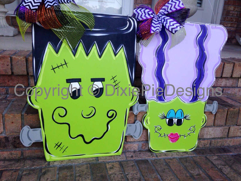Halloween Door Hanger In Stock Fall Door Hanger Frankenstein Door Hanger Ms Franke Halloween Door Hangers Halloween Wood Crafts Halloween Door Decorations