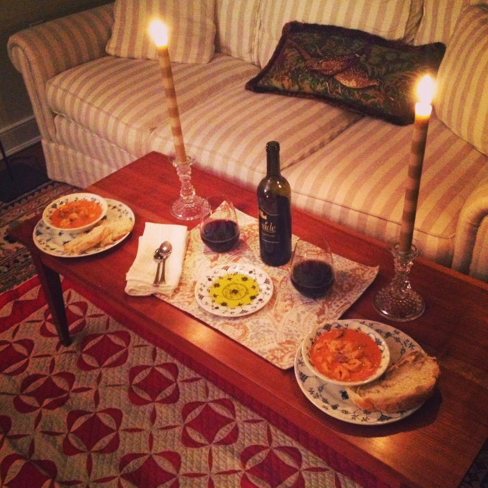 Romantic Dinner At Home On Floor Home Decor