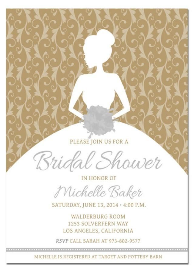 Gold and Silver - DIY - Photoshop Layered Template Printable - free bridal shower invitation templates printable